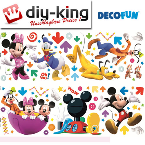 mickey mouse wandaufkleber wandsticker sticker wandtattoo decofun 40206b neu ebay. Black Bedroom Furniture Sets. Home Design Ideas