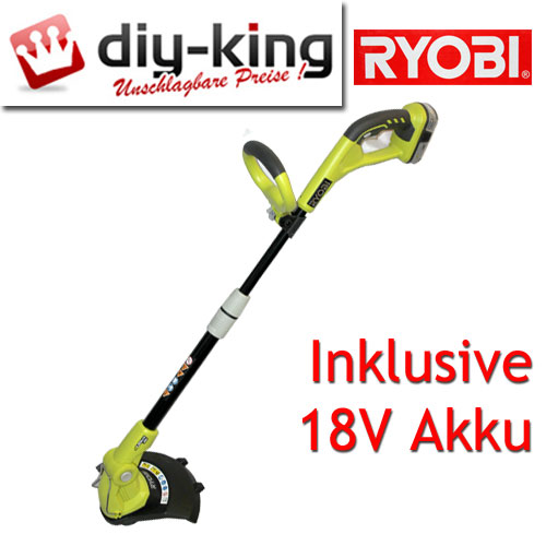 ryobi 18v akku rasentrimmer trimmer one rlt1830li inkl li ion akku blk18151 ebay. Black Bedroom Furniture Sets. Home Design Ideas